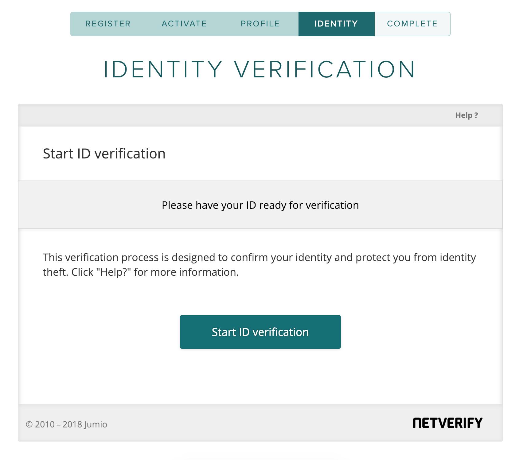 Poloniex account sign up Identity Verification Start ID Verification page.
