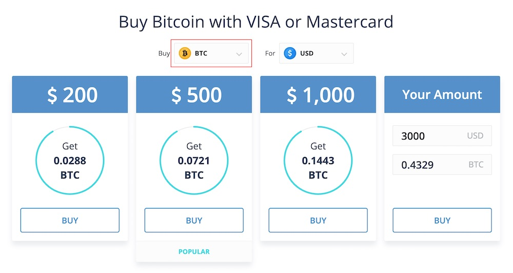 CEX.IO exchange buy XRP with a credit card select amount.