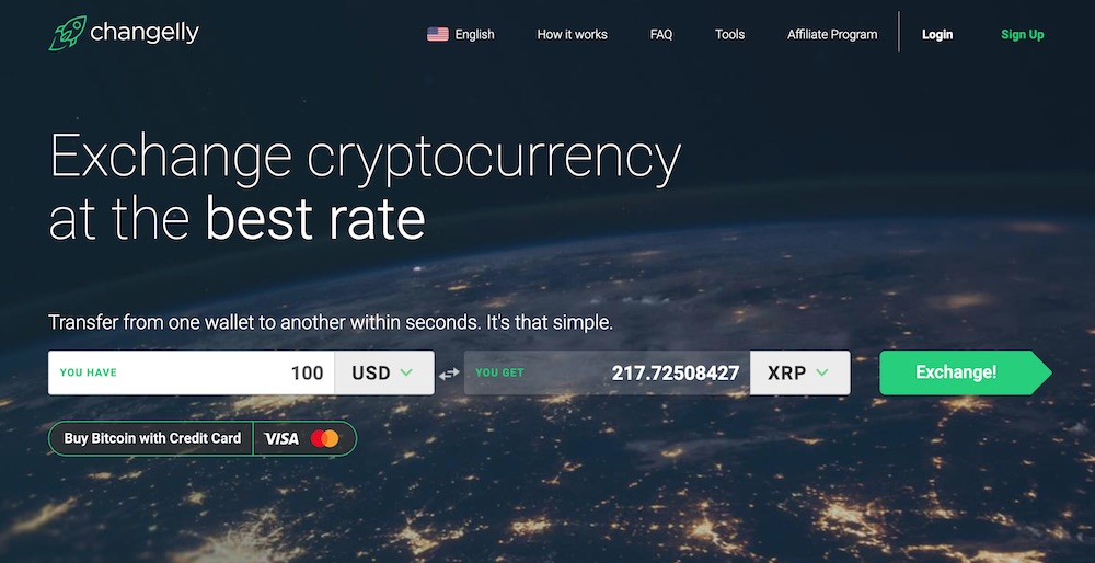 Changelly exchange home page USD for XRP. Guide to buy XRP with a credit card.