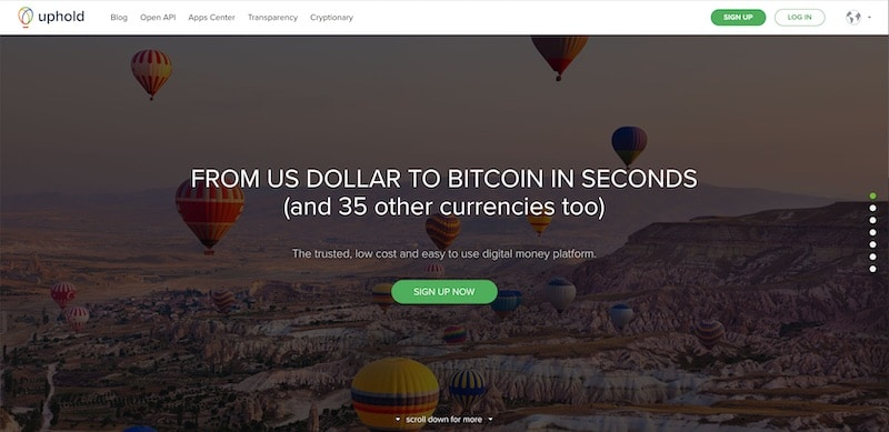 Uphold exchange home page.